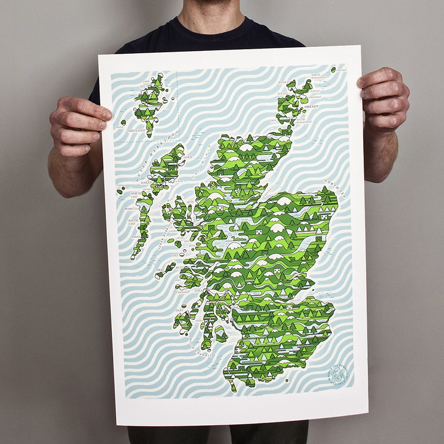Scotland Wired Map Print