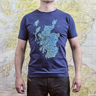 Scotland Wired Map Denim Blue
